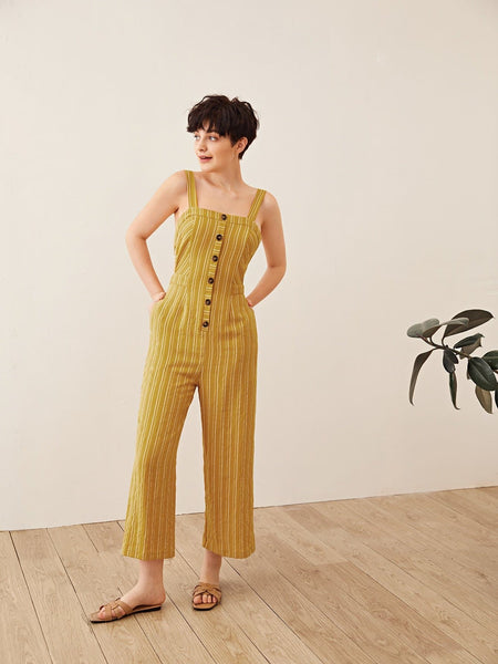 Open Back Buttoned Front Striped Slip Jumpsuit - FLJ CORPORATIONS