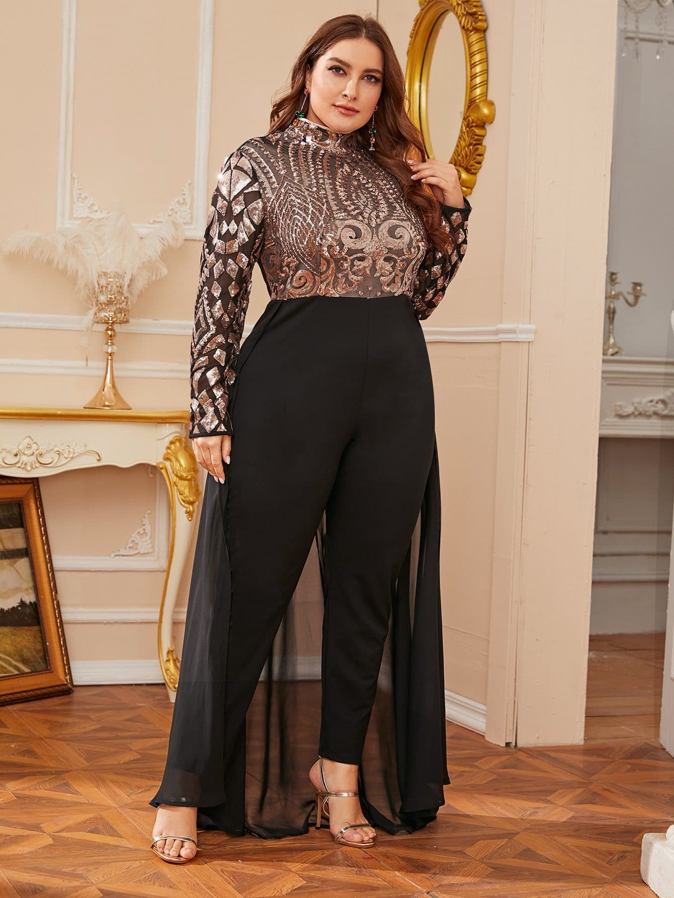 Plus High Neck Sequin Bodice Jumpsuit With Skirt - FLJ CORPORATIONS