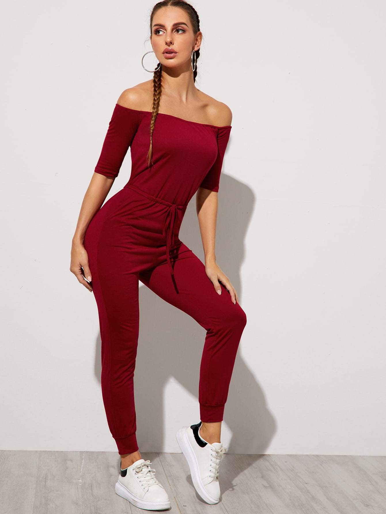 Solid Drawstring Waist Bardot Jumpsuit - FLJ CORPORATIONS