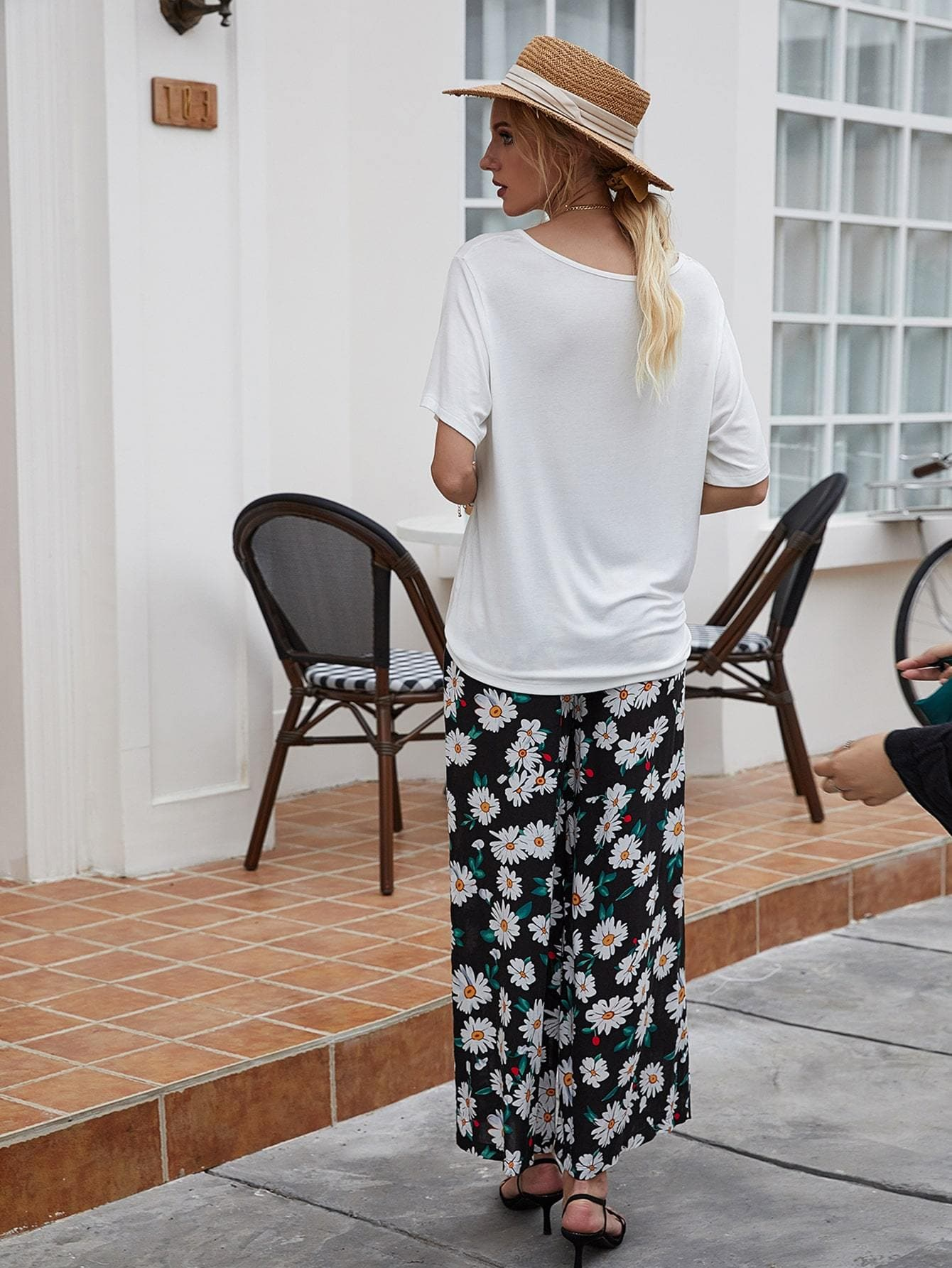 Solid Tee With Floral Print Pants - FLJ CORPORATIONS