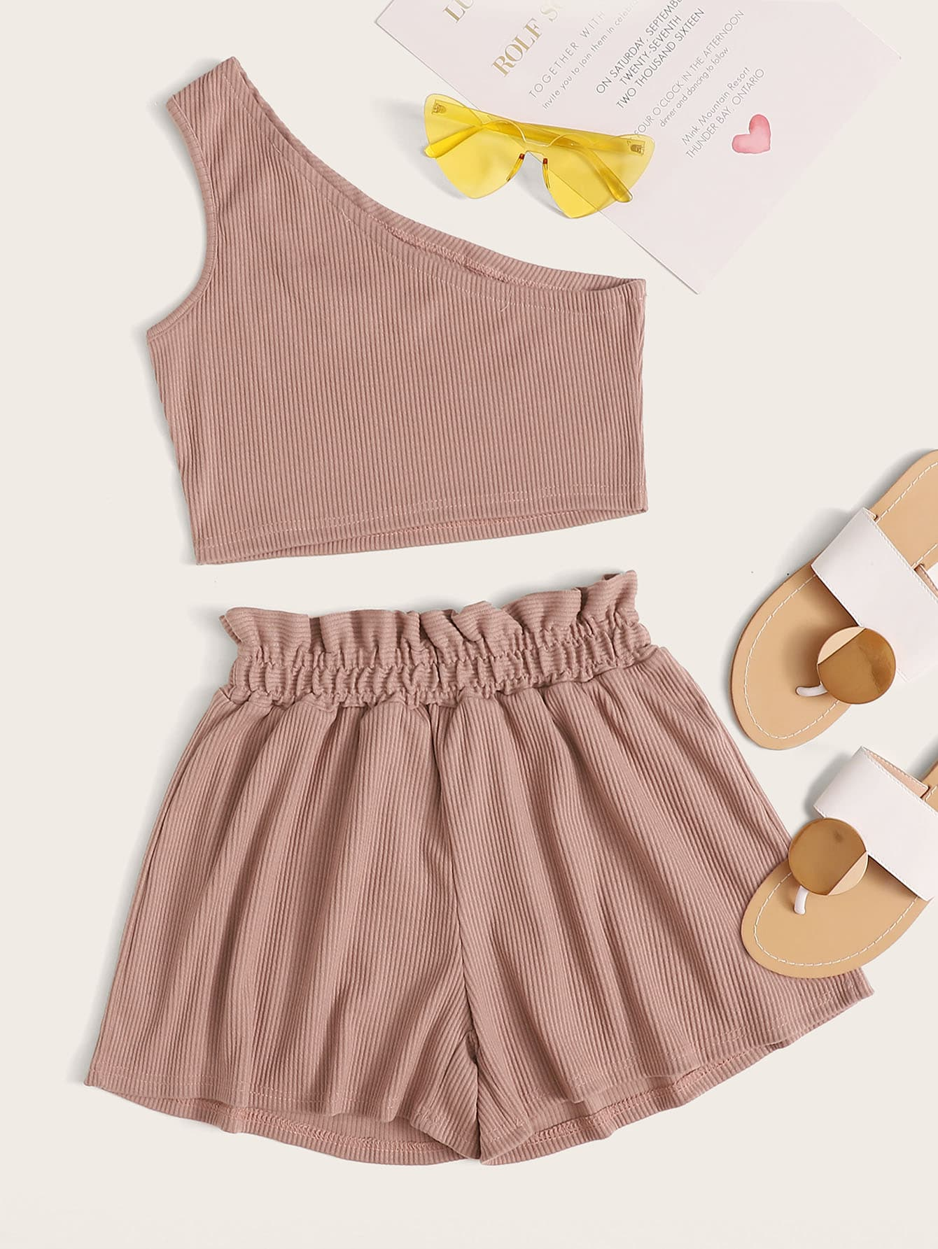 One Shoulder Rib-knit Top & Paperbag Waist Shorts - FLJ CORPORATIONS