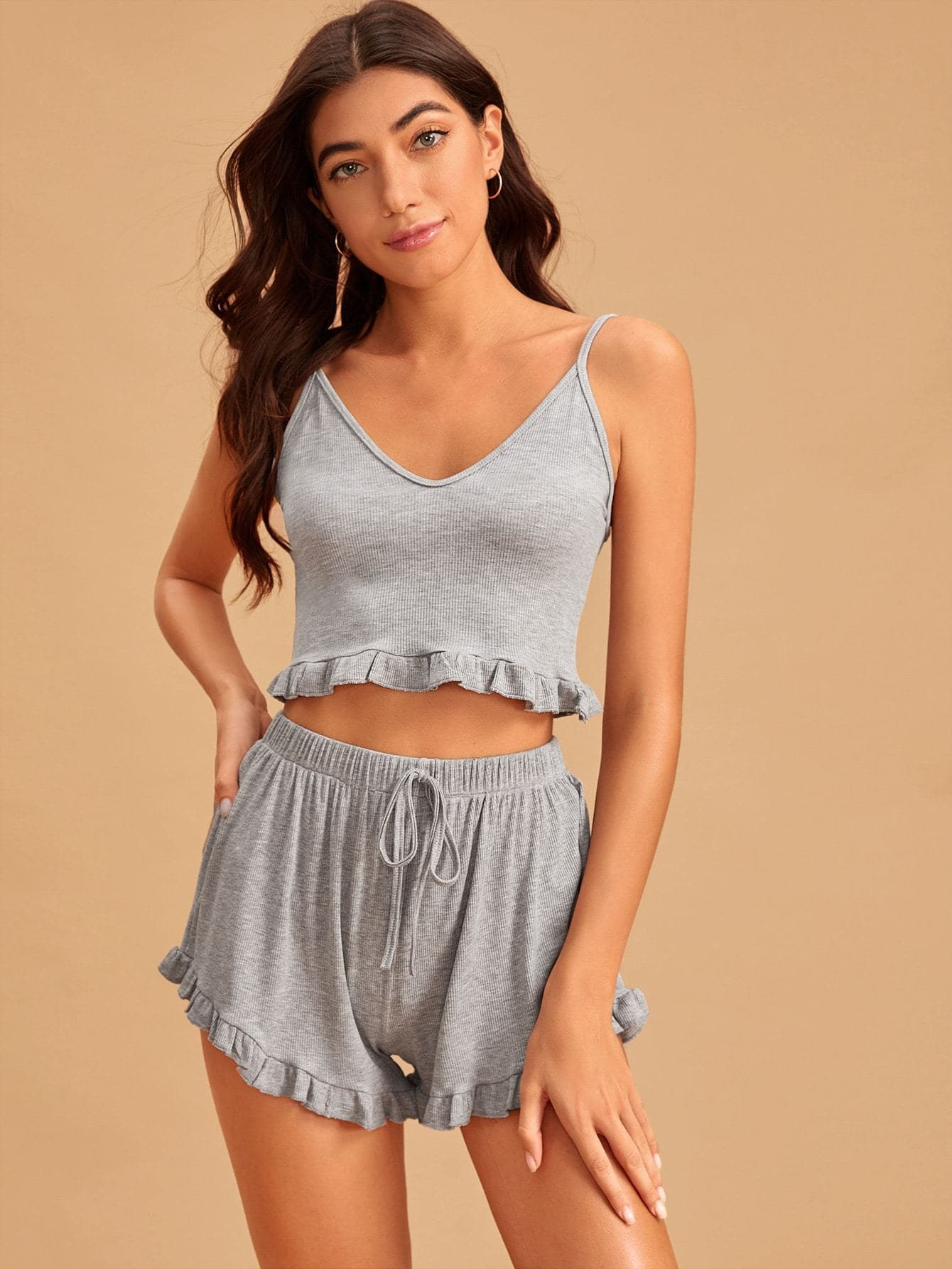 Ruffle Hem Drawstring Waist Rib-knit Cami PJ Set - FLJ CORPORATIONS