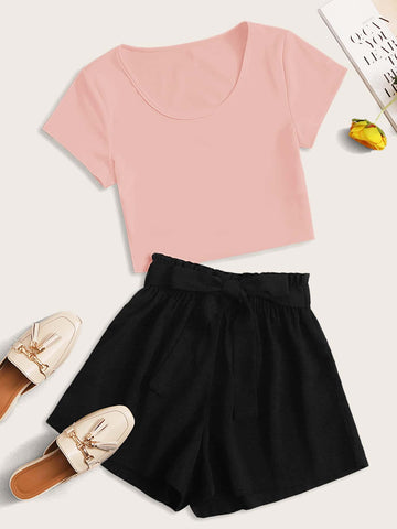 Scoop Neck Tee & Paperbag Waist Belted Shorts - FLJ CORPORATIONS