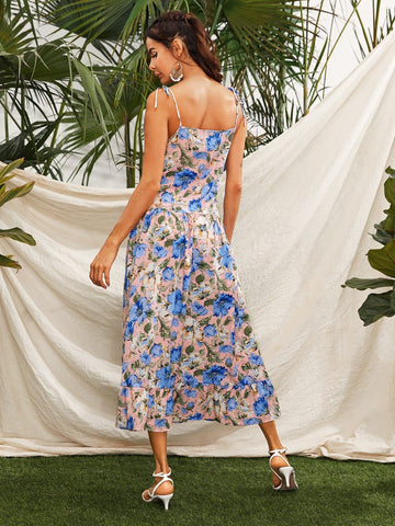 Knotted Covered Button Front Ruffle Hem Floral Cami Dress - FLJ CORPORATIONS