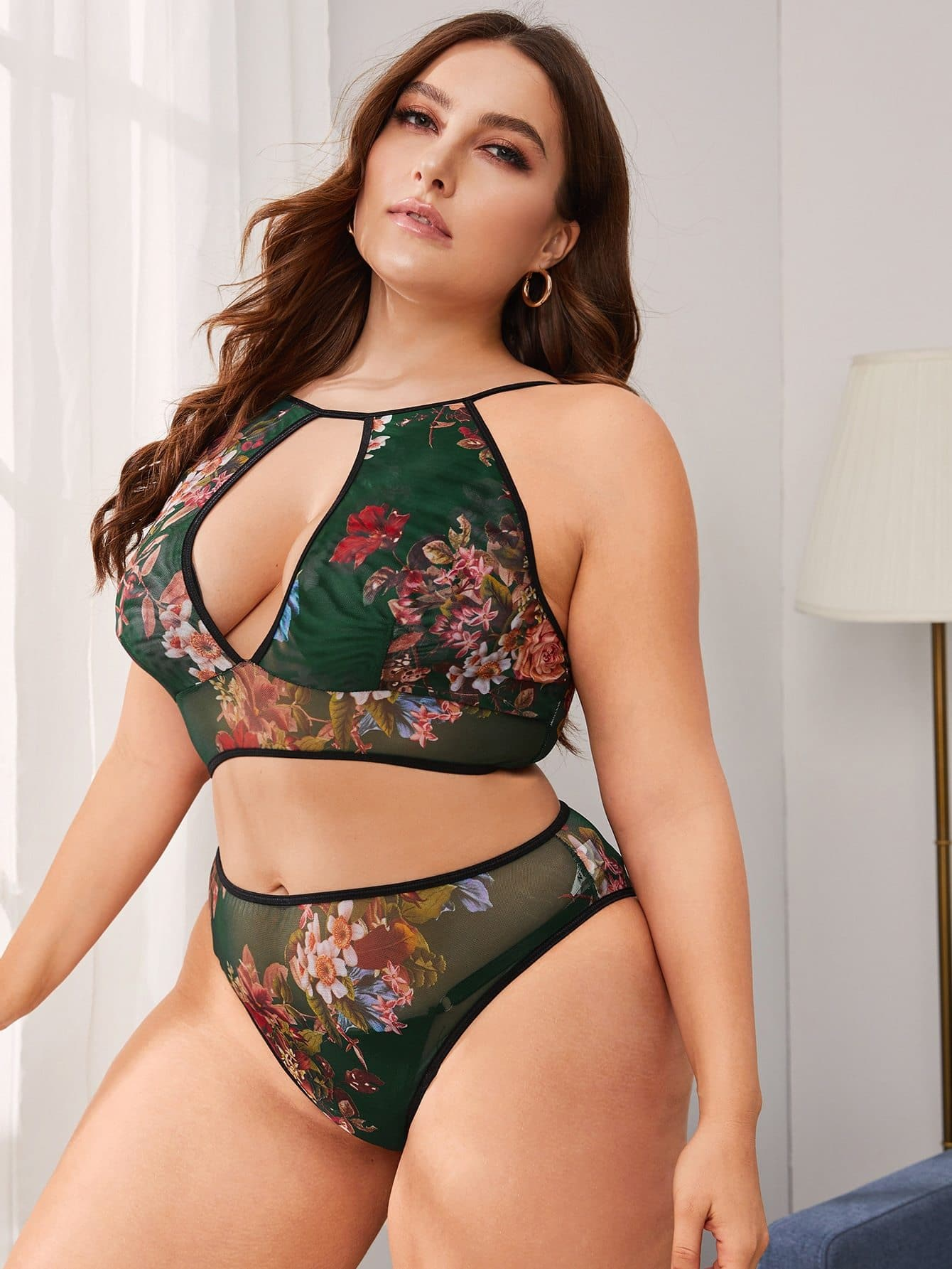 Plus Floral Print Mesh Lingerie Set - FLJ CORPORATIONS