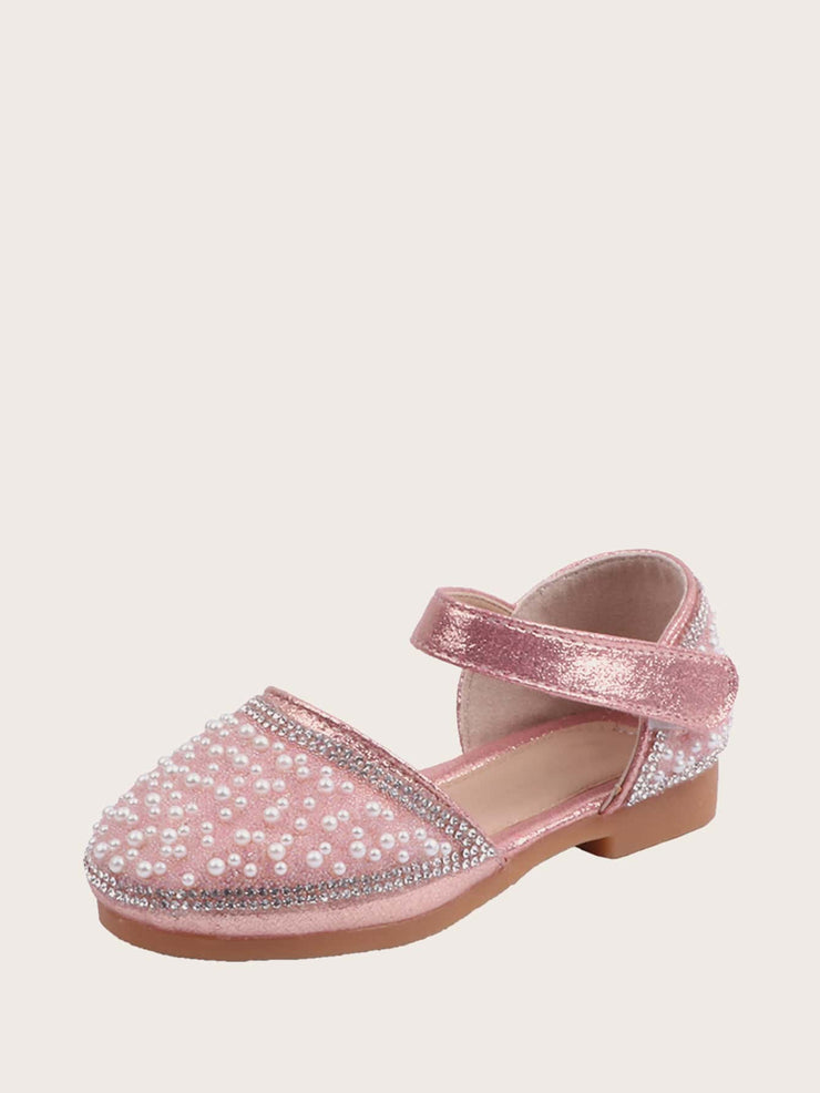 Girls Faux Pearl Decor Ankle Strap Flats - FLJ CORPORATIONS