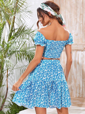 Ditsy Floral Shirred Back Bardot Top & Ruffle Hem Skirt Set - FLJ CORPORATIONS