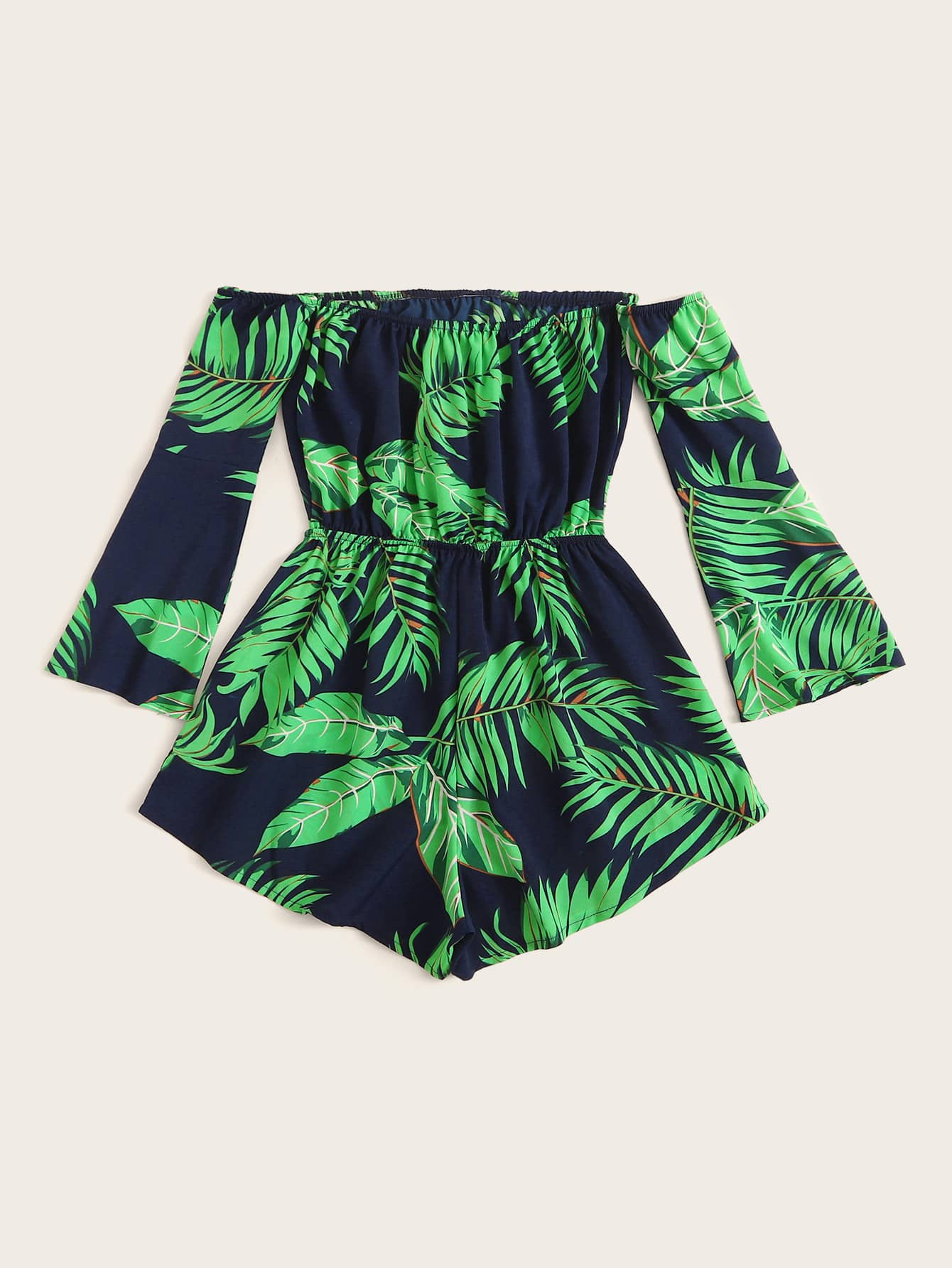 Plus Tropical Print Off The Shoulder Jumpsuit - FLJ CORPORATIONS