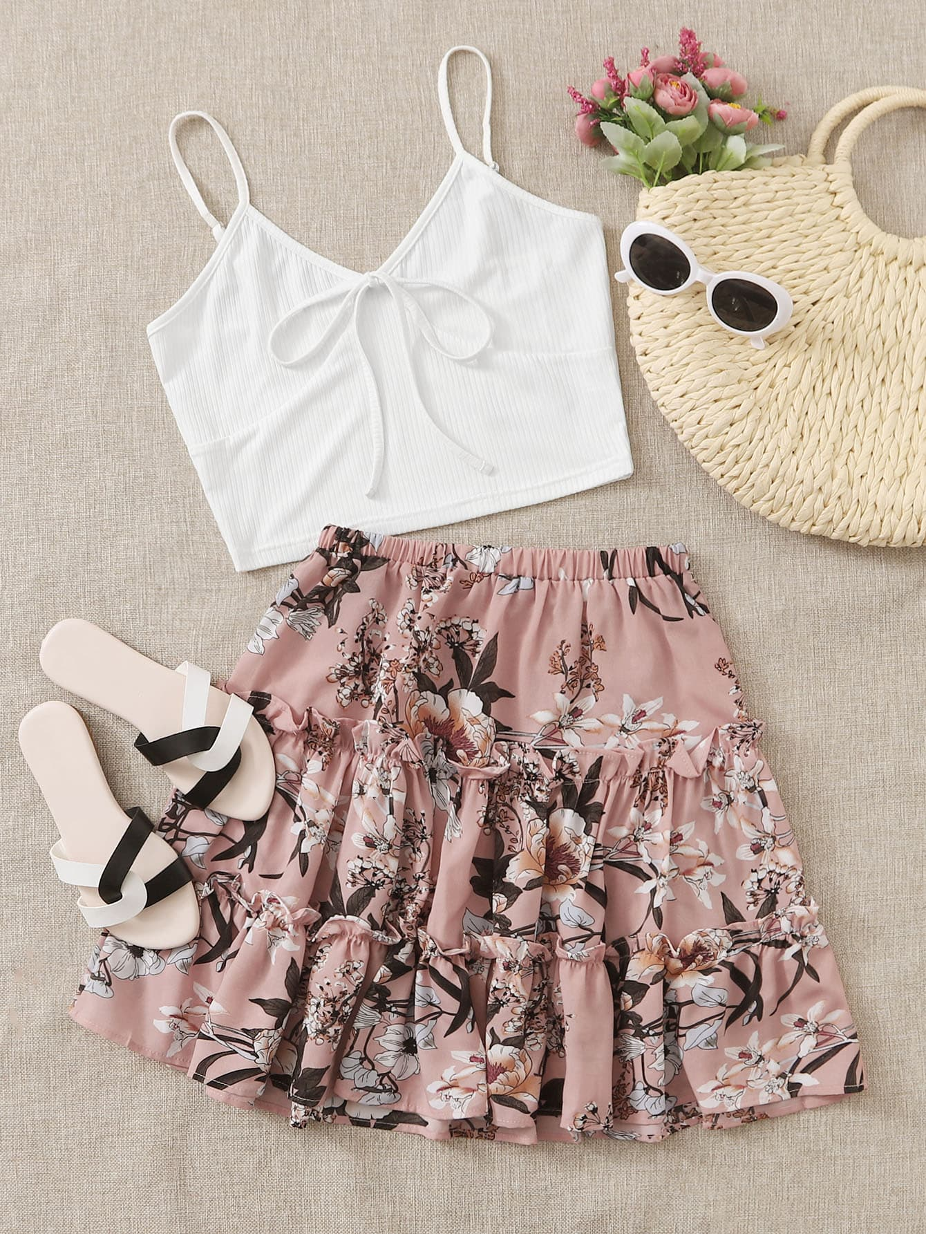 Ribbed Tie Front Cami Top & Floral Frill Trim Shorts - FLJ CORPORATIONS