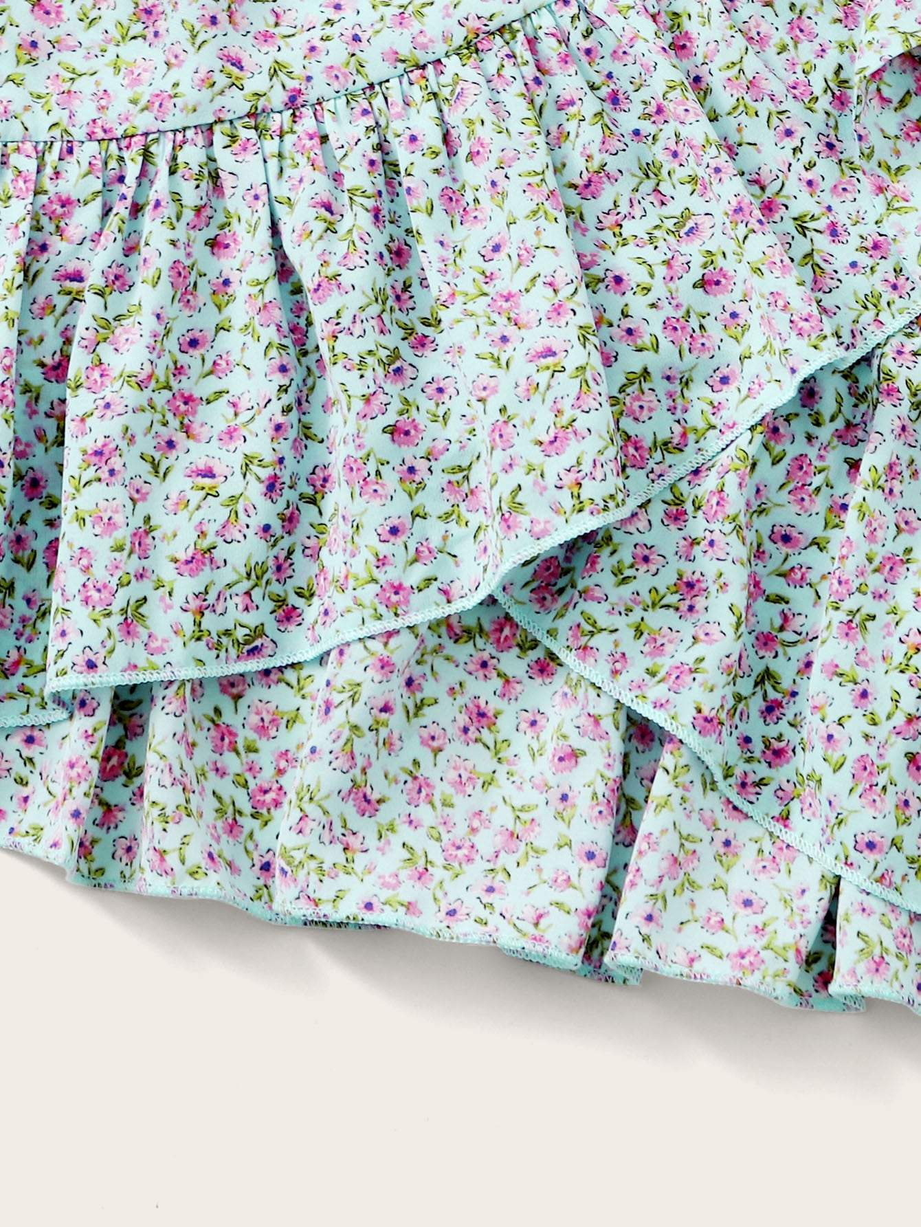 Ruffle Shirred Ditsy Floral Top & Belted Skirt Set - FLJ CORPORATIONS