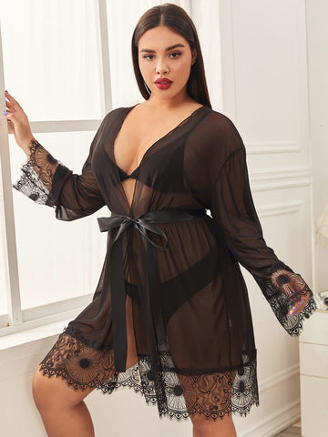 Plus Contrast Lace Belted Sheer Robe