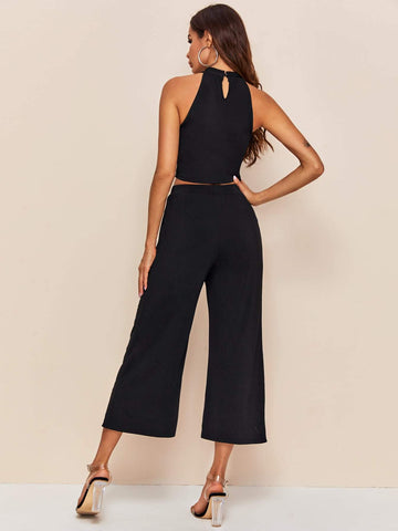 Solid Halter Top & Fold Pleated Detail Culottes Set - FLJ CORPORATIONS