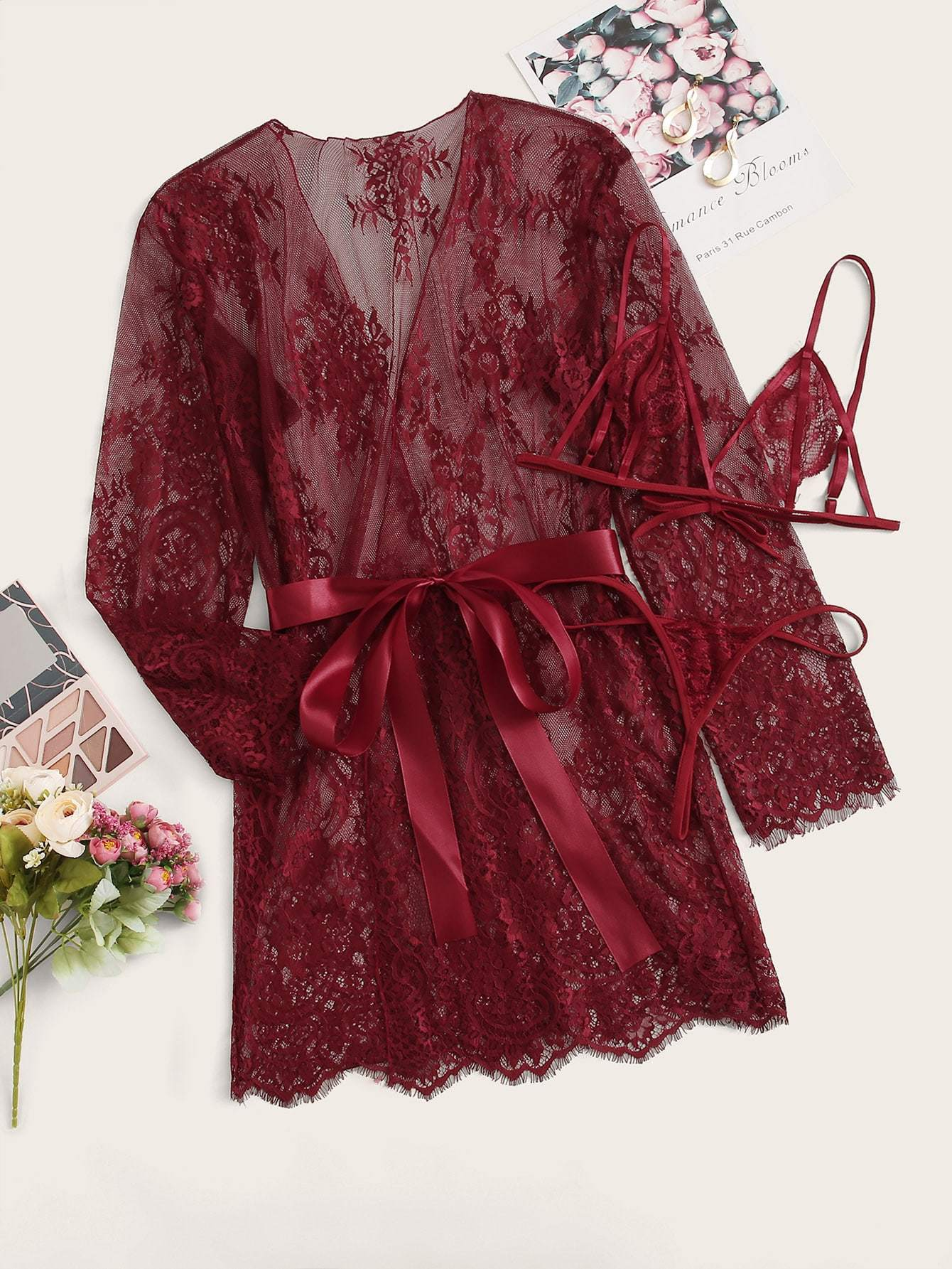 Plus Floral Lace Lingerie Set With Belted Robe - FLJ CORPORATIONS