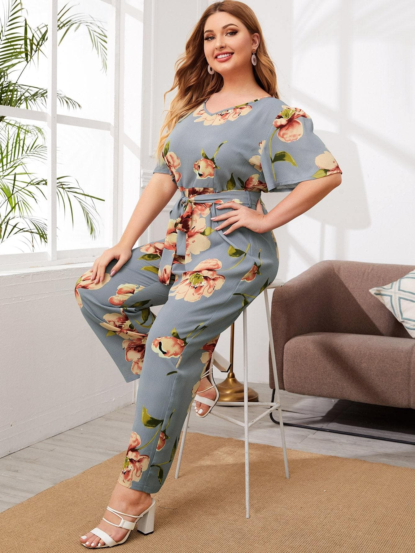 Plus Floral Print Belted Jumpsuit - FLJ CORPORATIONS