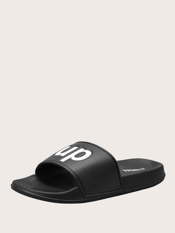 Men Letter Graphic Sliders - FLJ CORPORATIONS