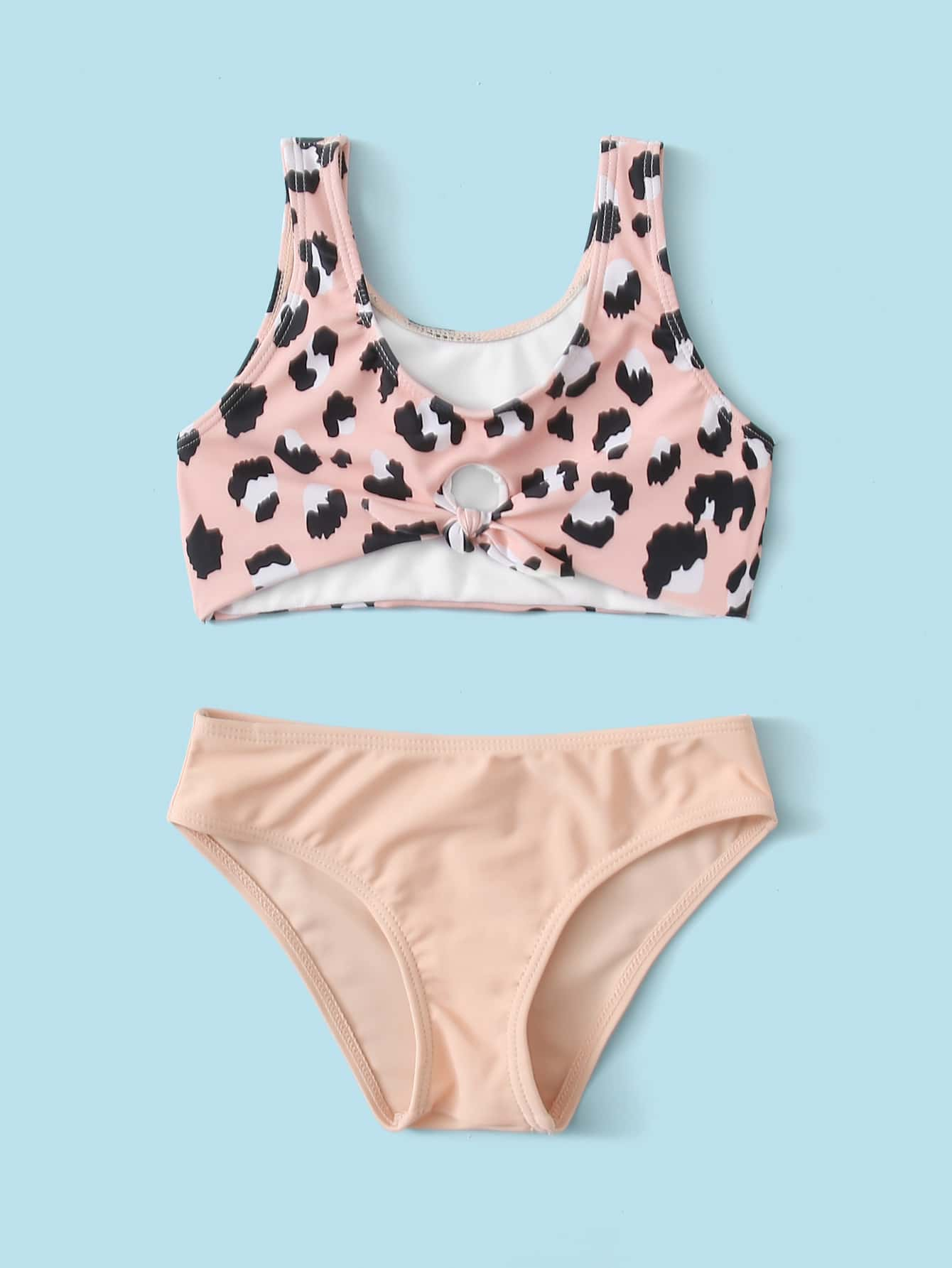 Toddler Girls Leopard Knot Front Bikini Swimsuit - FLJ CORPORATIONS