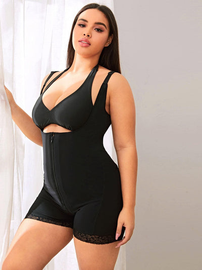 Plus Zip-up Lace Trim Waist Trainer - FLJ CORPORATIONS