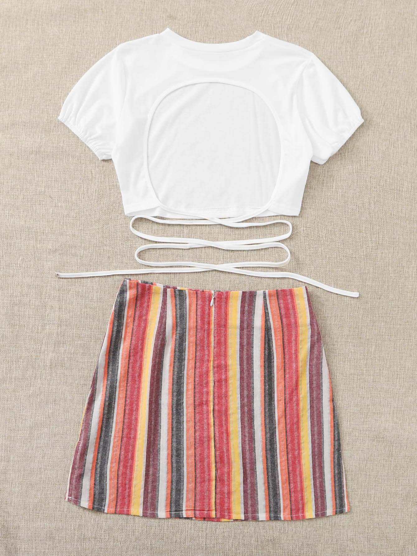 Cut Out Criss Cross Tie Back Tee & Striped Skirt - FLJ CORPORATIONS
