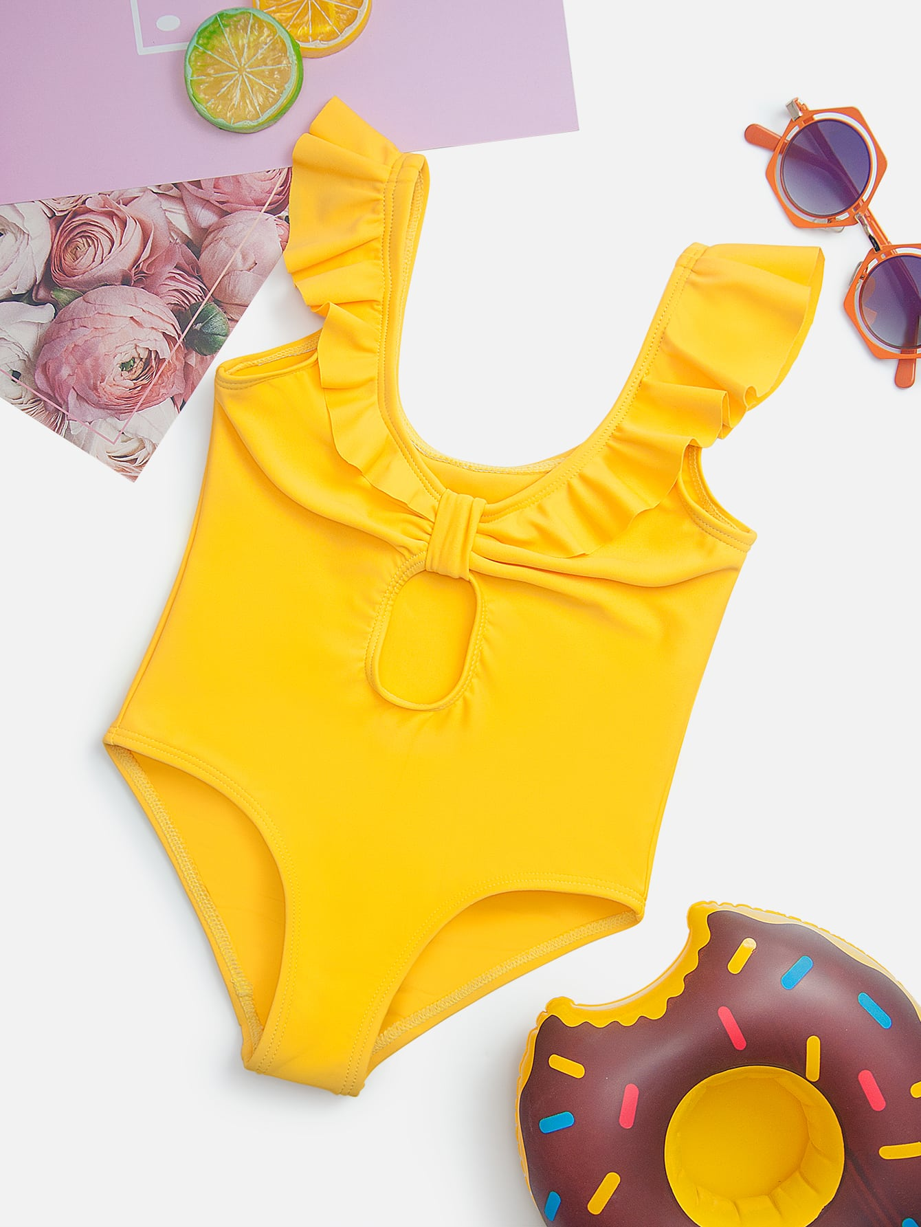 Toddler Girls Cut-out Ruffle One Piece Swimsuit - FLJ CORPORATIONS