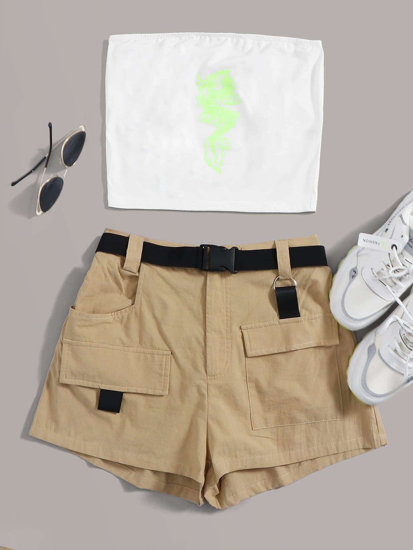 Dragon Bandeau & Pocket Patched Shorts Set With Buckle Belt - FLJ CORPORATIONS