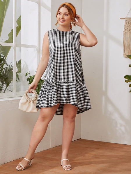 Plus Ruffle Hem Gingham Smock Dress - FLJ CORPORATIONS