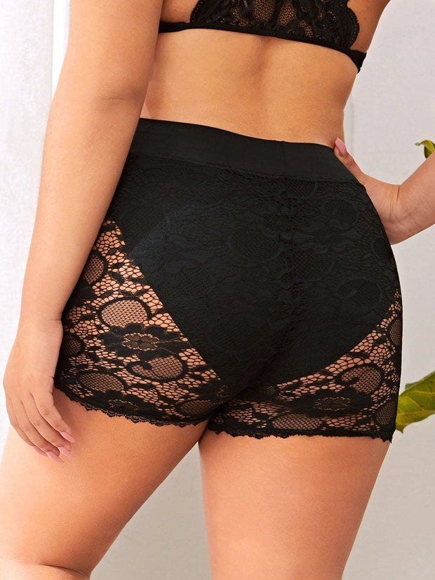 Plus Floral Lace Shapewear Shorts - FLJ CORPORATIONS