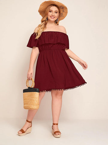 Plus Flounce Off Shoulder Pompom Hem Dress - FLJ CORPORATIONS