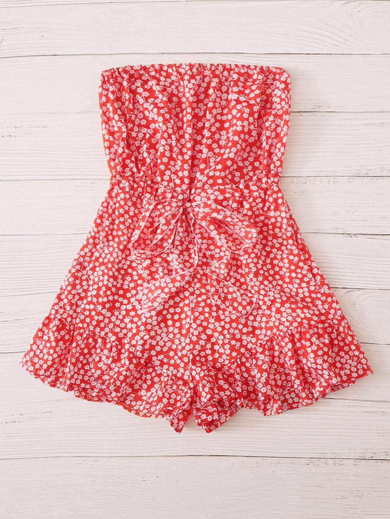 Plus Ditsy Floral Tie Front Tube Romper - FLJ CORPORATIONS
