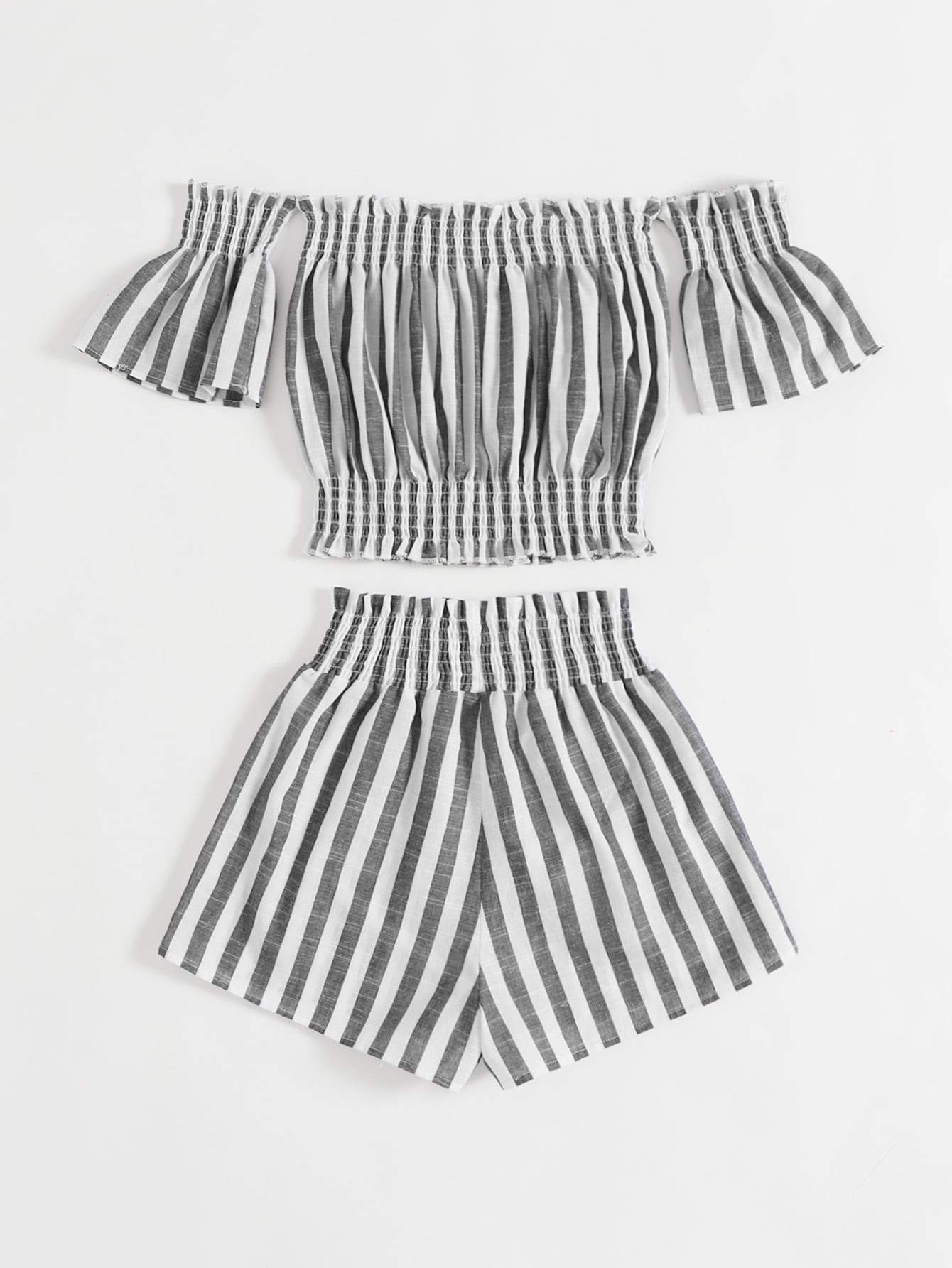 Striped Shirred Frill Trim Bardot Top & Shorts - FLJ CORPORATIONS