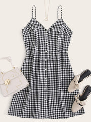 Plus Button Front Buffalo Plaid Cami Dress - FLJ CORPORATIONS