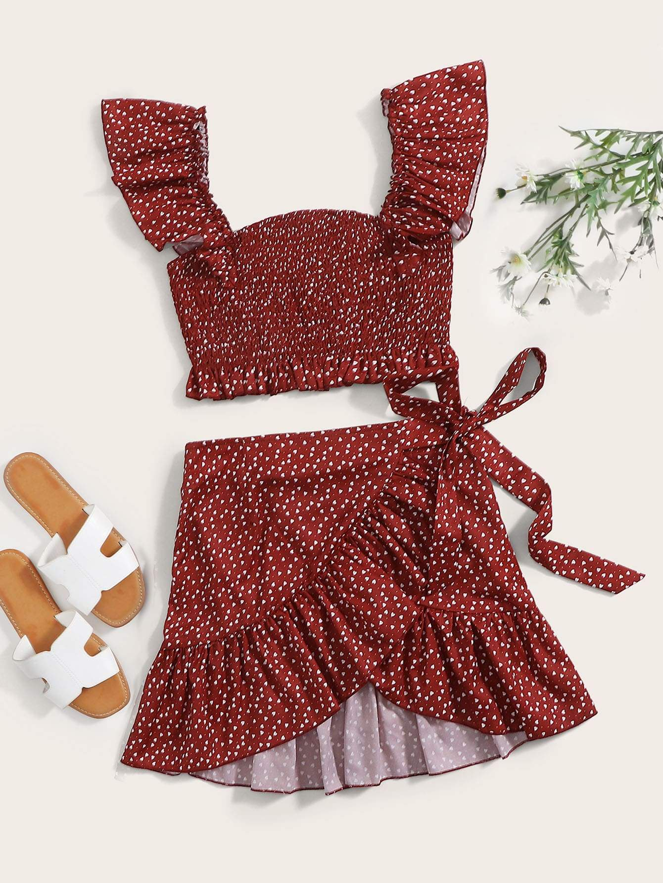 Speckled Smocked Crop Top & Mini Wrap Skirt Set - FLJ CORPORATIONS