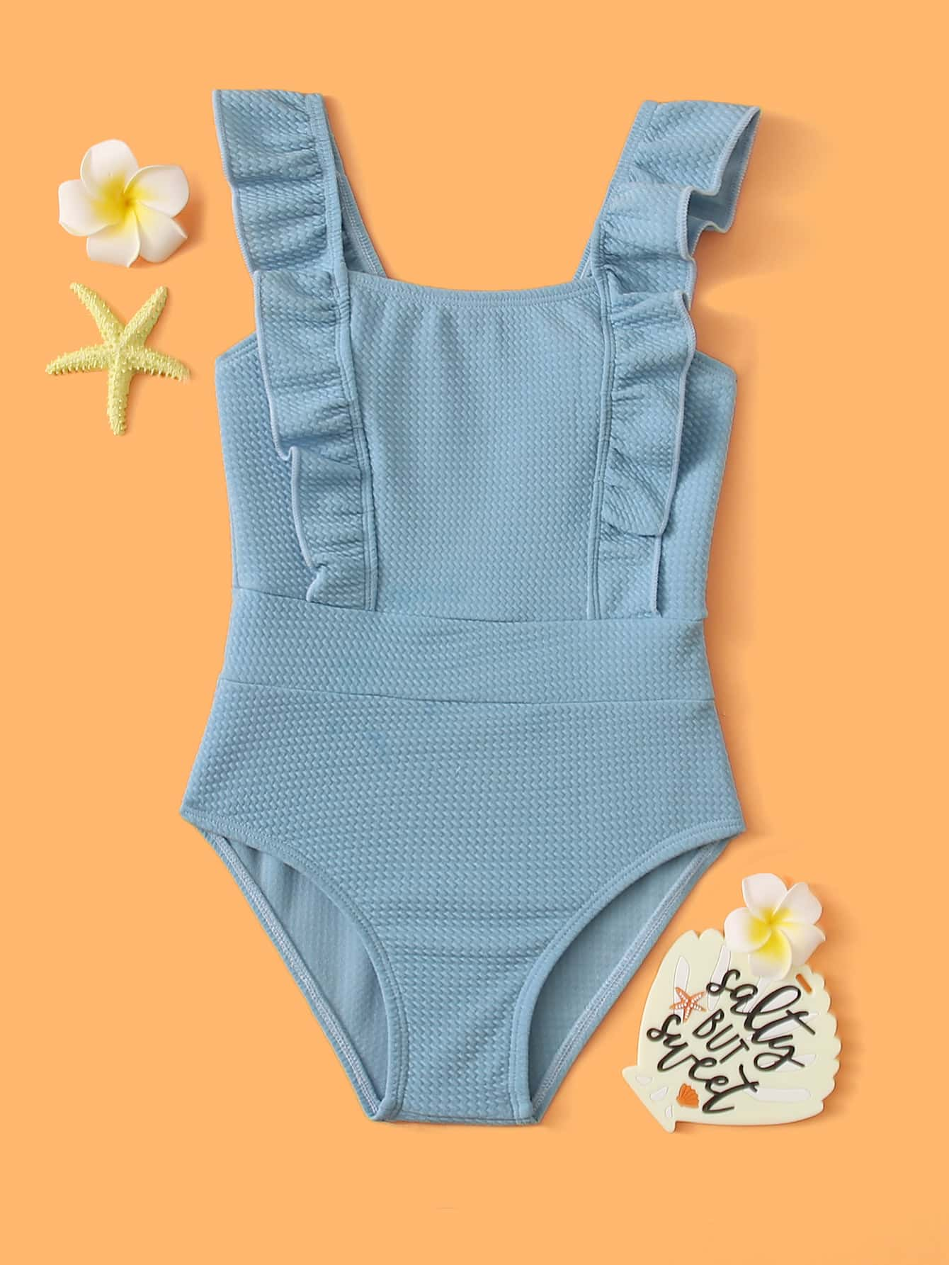 Toddler Girls Textured Ruffle One Piece Swimsuit - FLJ CORPORATIONS
