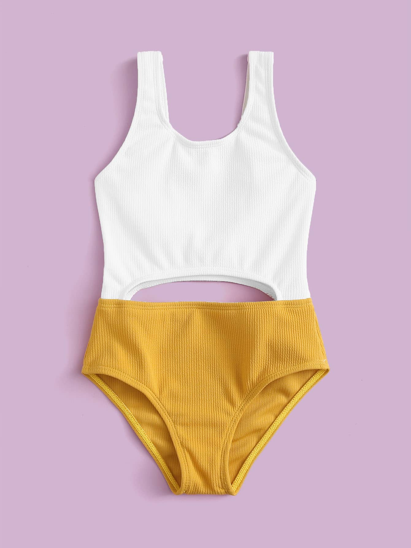 Toddler Girls Rib Two Tone One Piece Swimsuit - FLJ CORPORATIONS