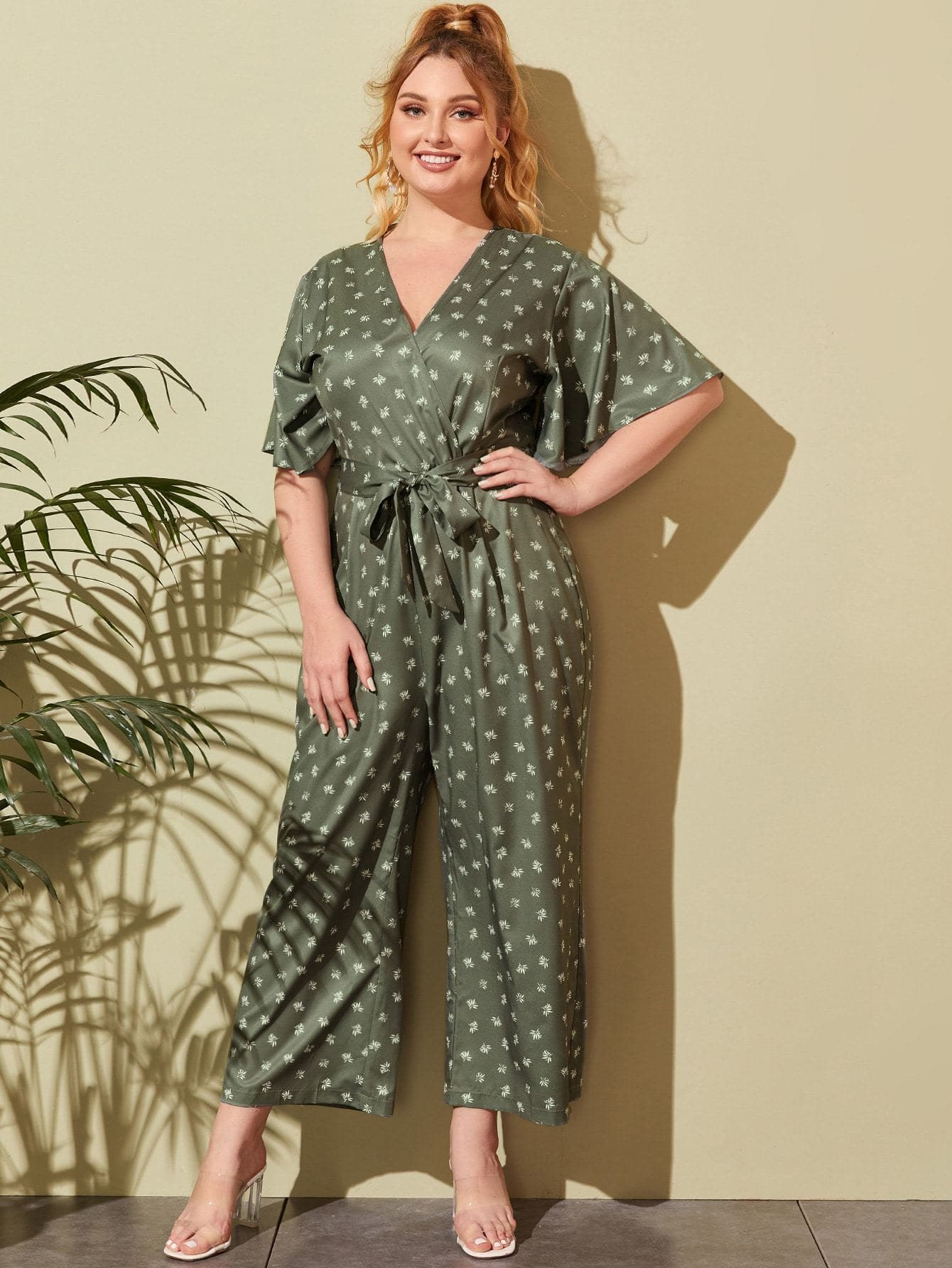 Plus Leaf Print Surplice Front Wide Leg Shirt Jumpsuit - FLJ CORPORATIONS