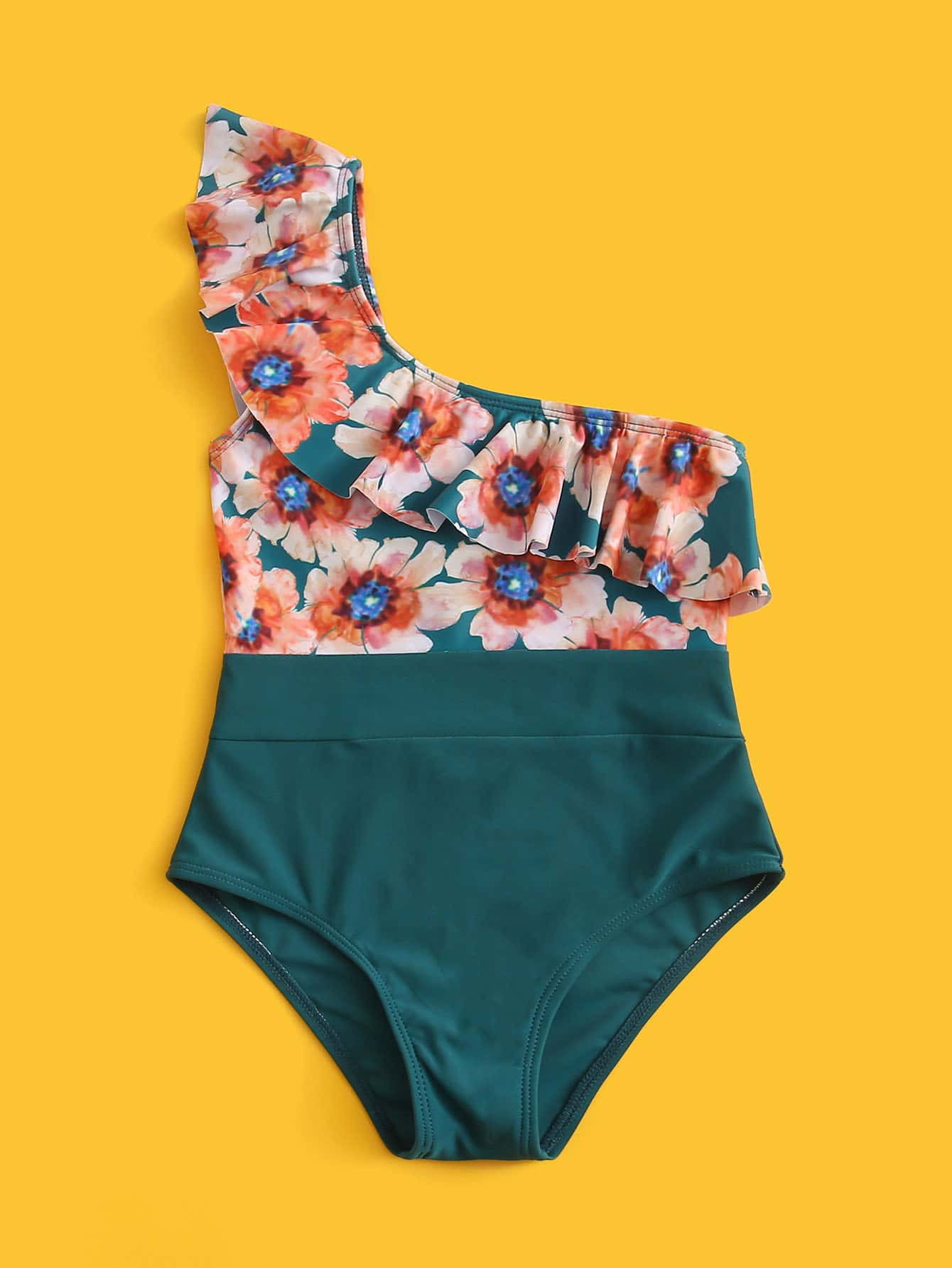 Toddler Girls Floral Ruffle One Piece Swimsuit - FLJ CORPORATIONS
