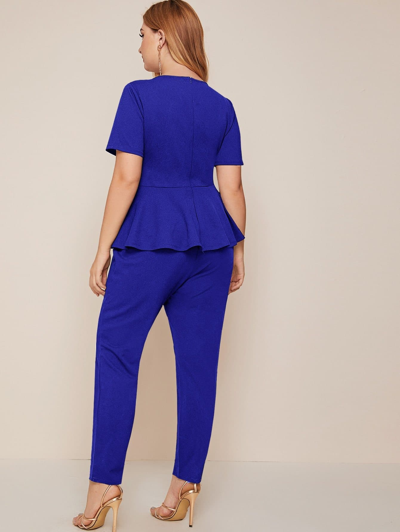 Plus Zip Back Solid Peplum Jumpsuit - FLJ CORPORATIONS
