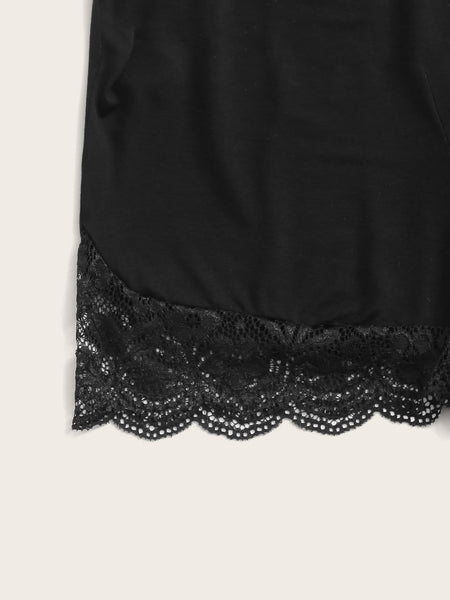 Lace Panel Bow Front Cami PJ Set - FLJ CORPORATIONS