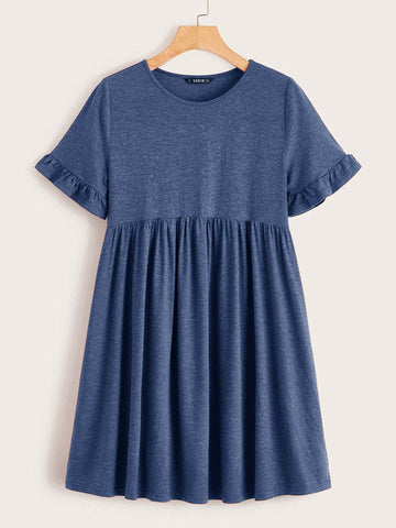 Plus Ruffle Cuff Smock Dress - FLJ CORPORATIONS