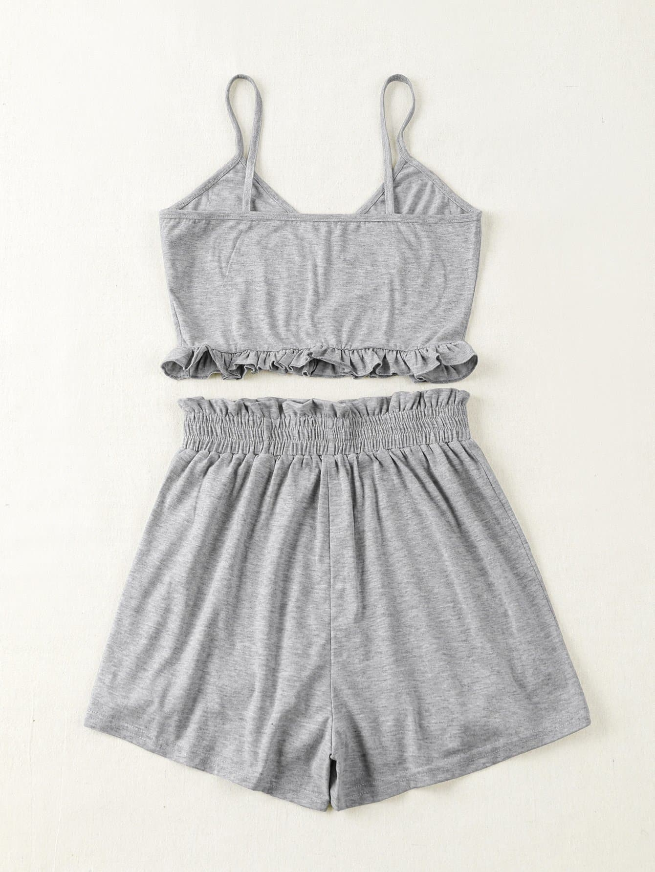 Frill Hem Solid Cami Top & Paperbag Waist Shorts - FLJ CORPORATIONS