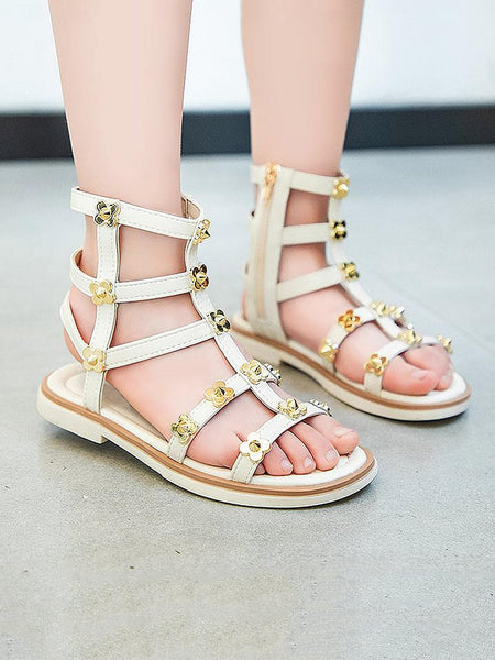 Girls Metal Flower Decor Gladiator Sandals - FLJ CORPORATIONS