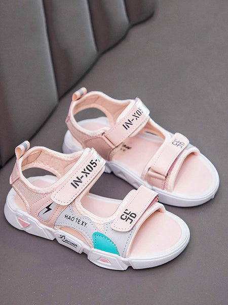Girls Letter Graphic Cut-out Velcro Strap Sandals - FLJ CORPORATIONS