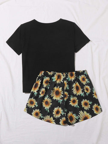 Slogan & Sunflower Print Tee With Shorts - FLJ CORPORATIONS