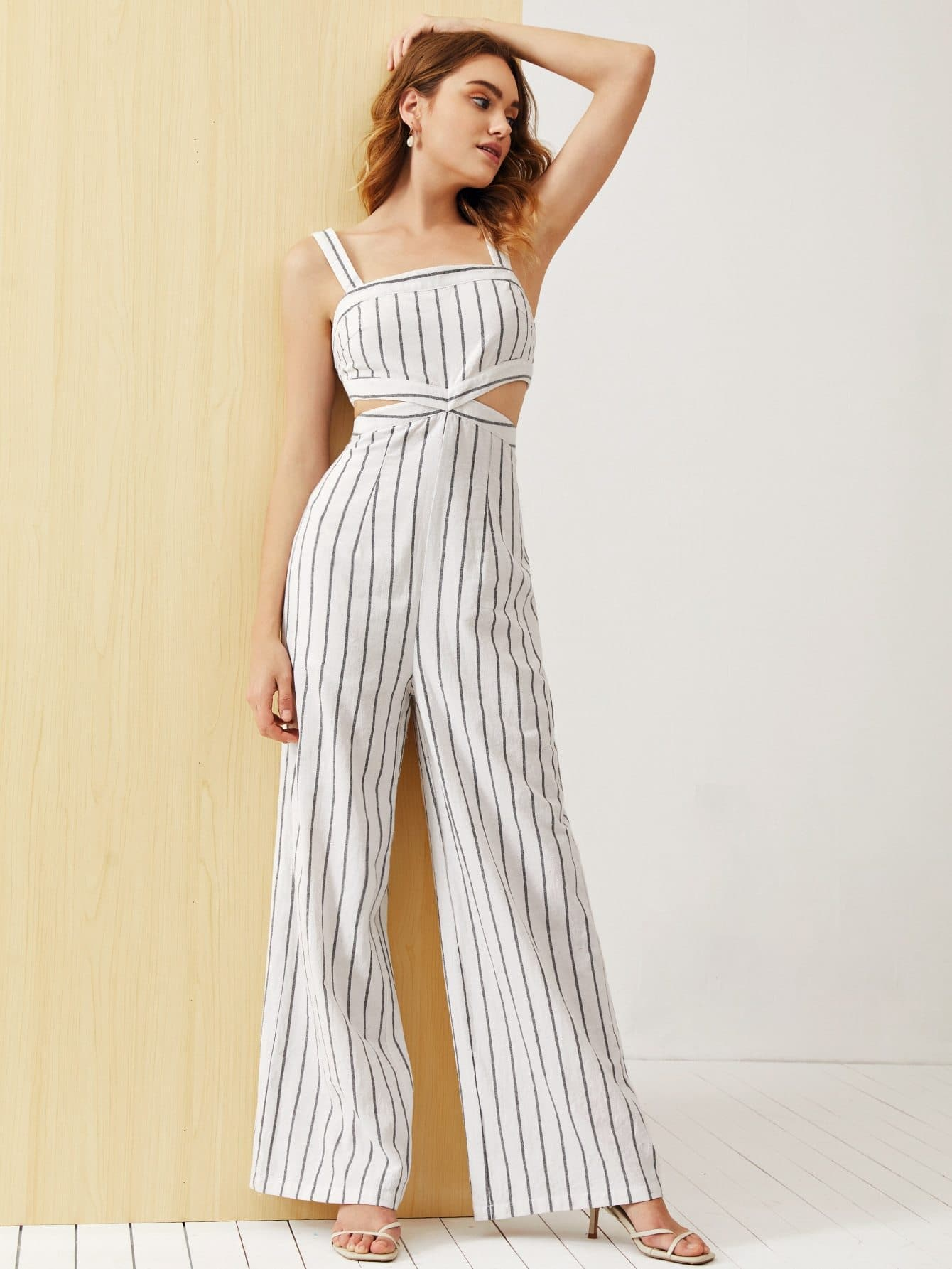 Cut Out Waist Wide Leg Striped Slip Jumpsuit - FLJ CORPORATIONS