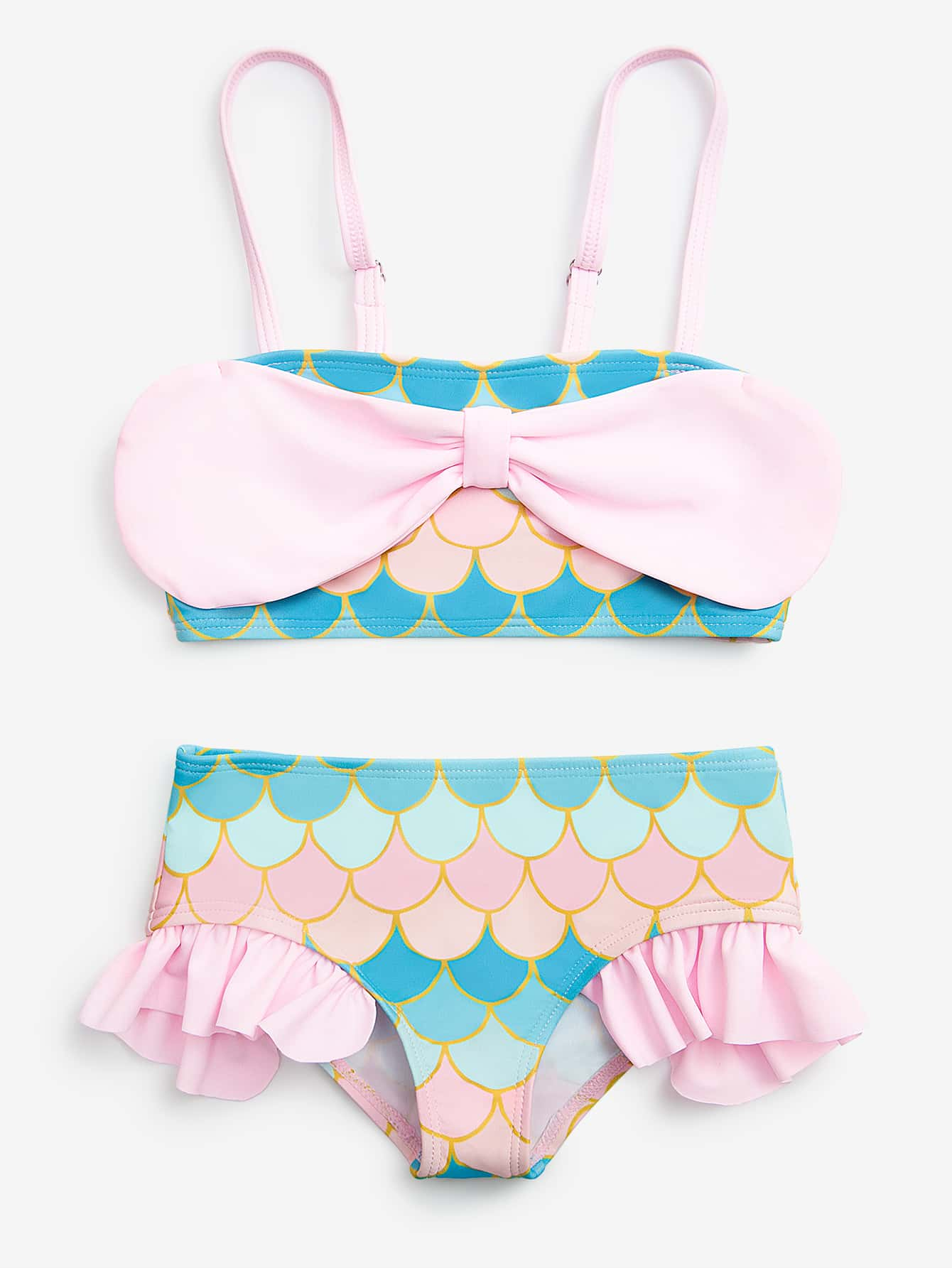 Toddler Girls Fish Scales Print Bikini Swimsuit - FLJ CORPORATIONS