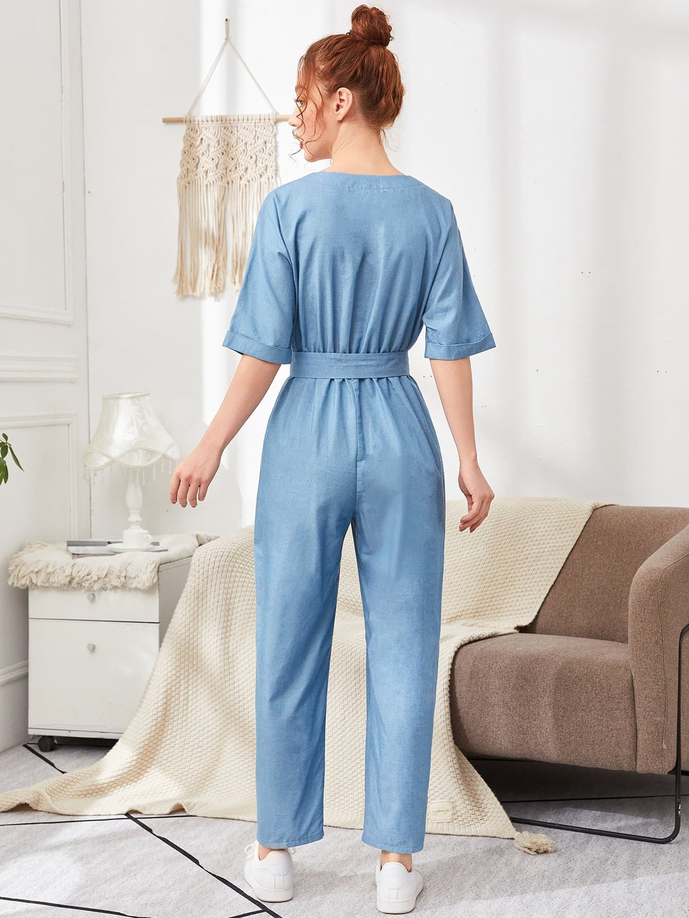 Button Front Roll Up Sleeve Belted Jumpsuit - FLJ CORPORATIONS