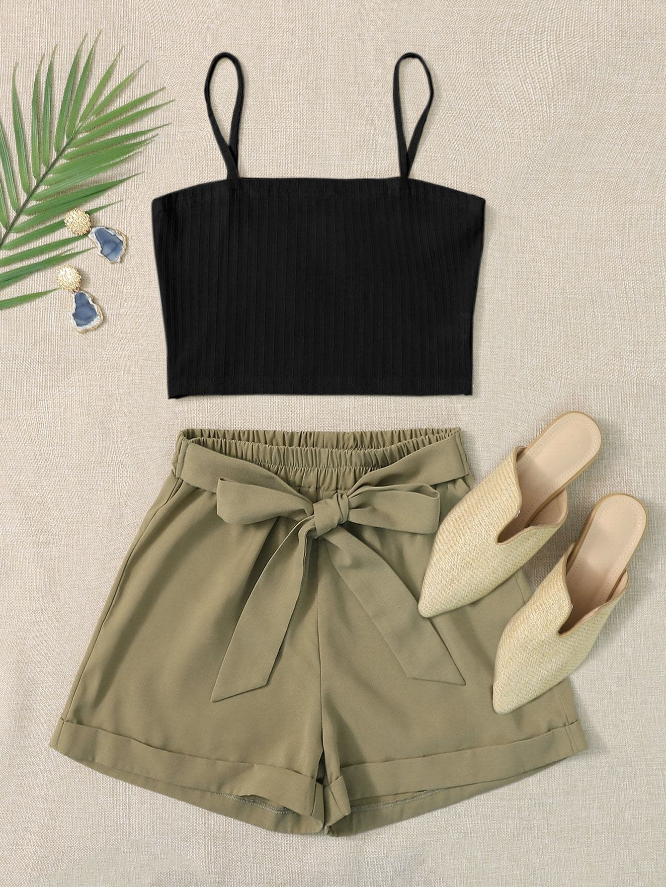 Rib-knit Cami Top & Belted Shorts - FLJ CORPORATIONS
