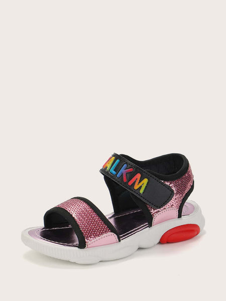 Girls Sequin Decor Velcro Strap Sandals - FLJ CORPORATIONS