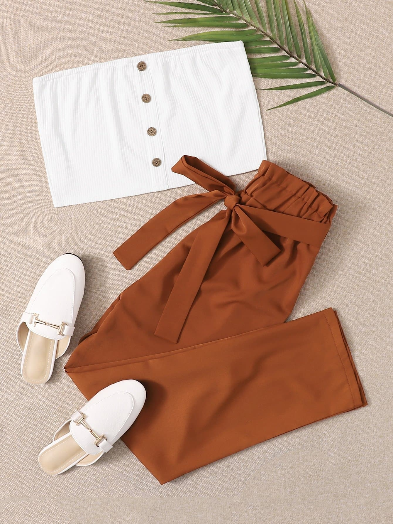 Button Front Tube Top & Paper Bag Waist Belted Pants - FLJ CORPORATIONS