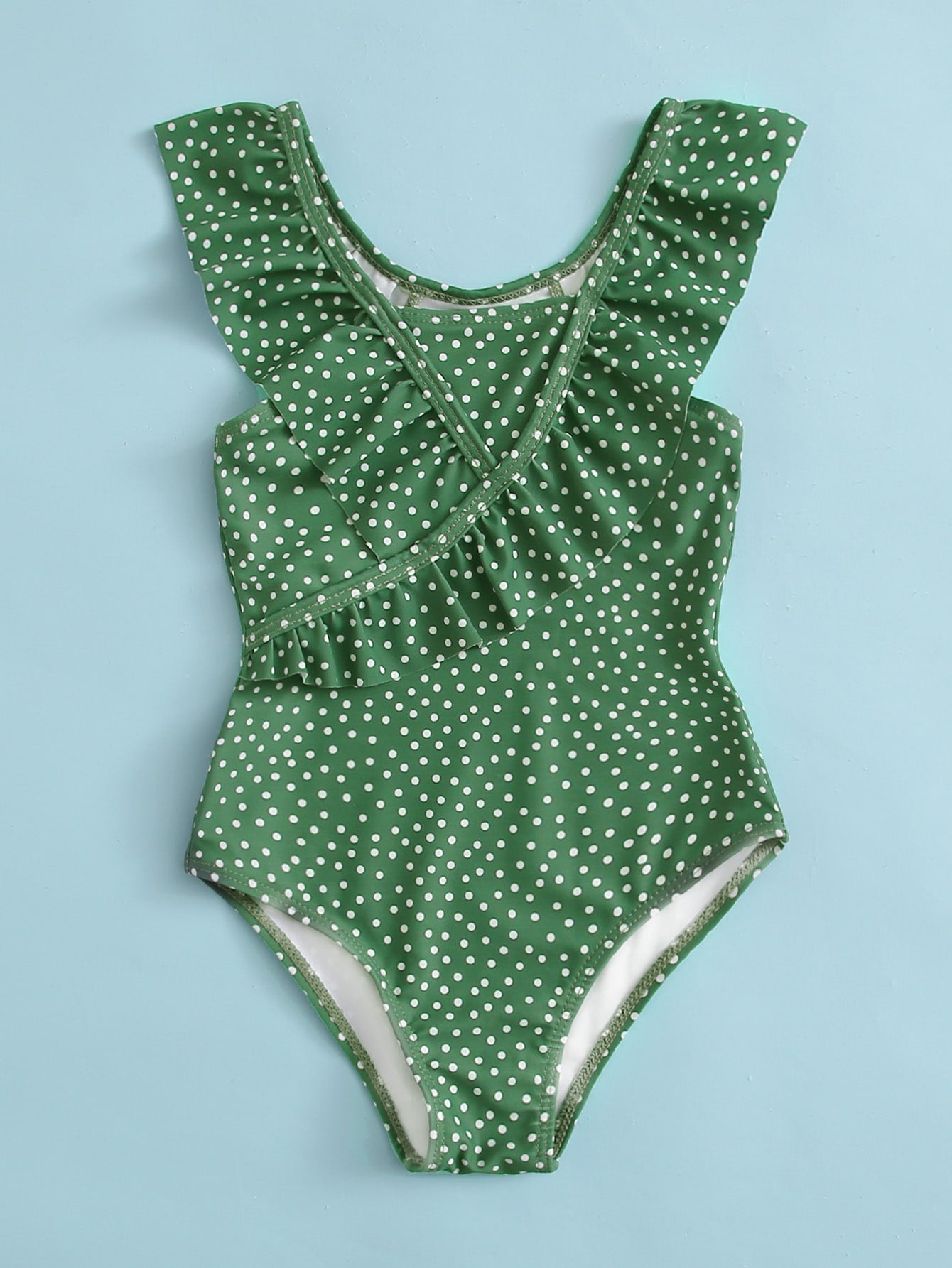Toddler Girls Polka Dot Ruffle One Piece Swimsuit - FLJ CORPORATIONS