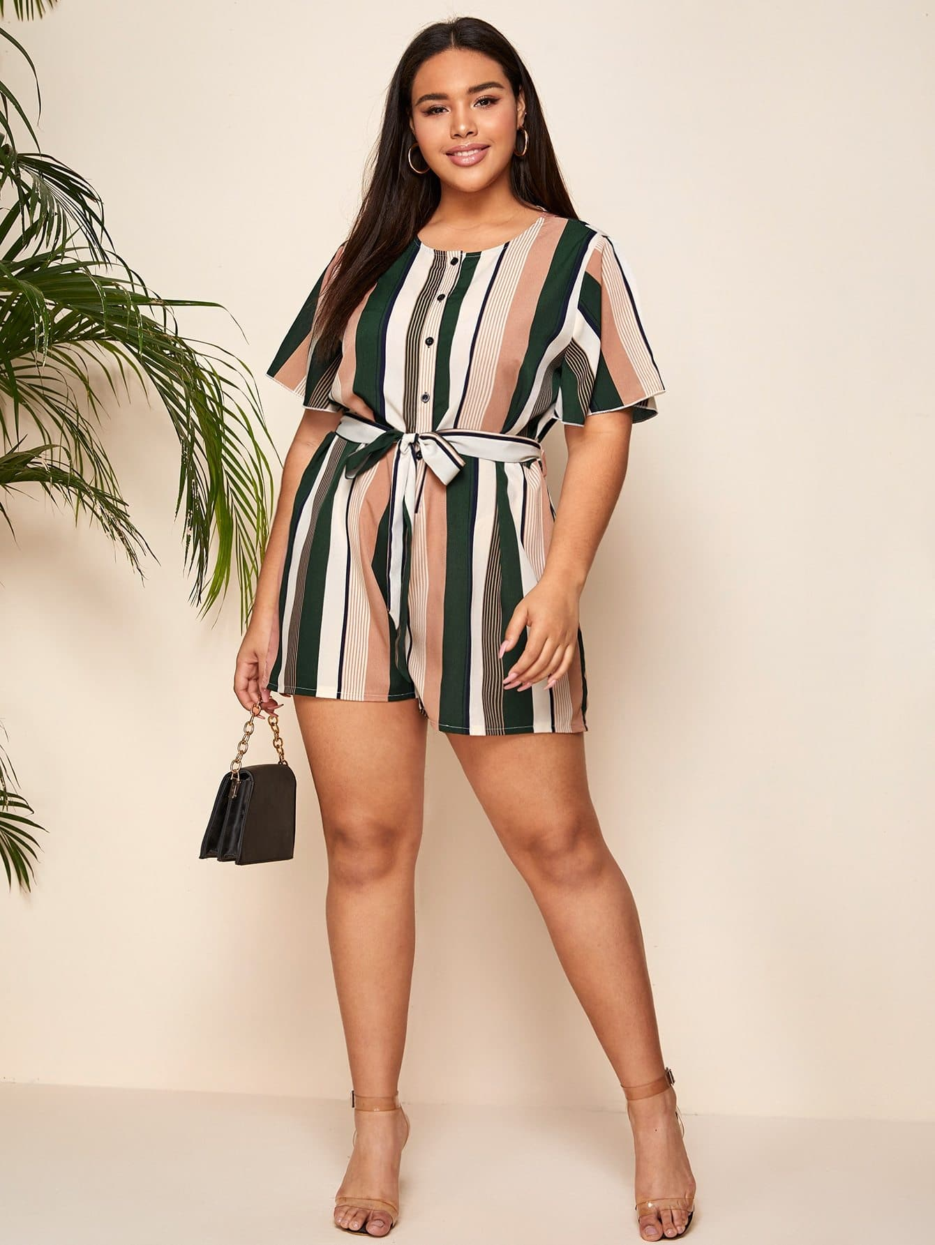 Plus Striped Button Front Belted Romper - FLJ CORPORATIONS